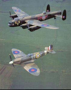 Lancaster and Spitfire Aircraft - Aircraft art - Aircraft design - vintage Aircraft - Sour Ww2 Aircraft, Fighter Aircraft, Military Aircraft, Fighter Jets, Ww2 Fighter Planes, Lancaster Bomber, Lancaster Plane, Aircraft Painting, Supermarine Spitfire