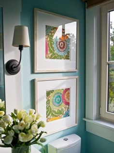 Love this...  framed fabric!  Also, awesome tips about how to add color to any room. wall colors, wall decor, half bath, dream homes, framed fabric, diy idea, guest bath, fabric art, bathroom