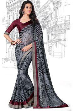 Black Color Designer Printed Saree Online From Hdbazaar.