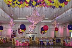 Zebra Print Themed Bat Mitzvah with Loose Balloons Hanging from the Ceiling at The Rockleigh, NJ