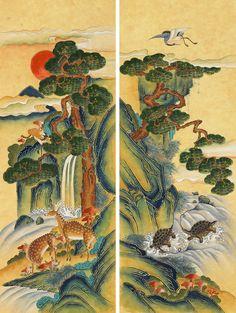 Korean Art, Asian Art, Kids Room Murals, Korean Painting, Irezumi, Decoupage, Oriental, Folk, Watercolor