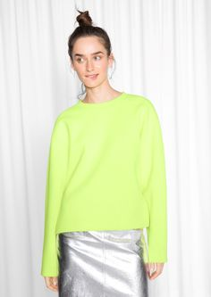 7c29573cc90 Other Stories image 1 of Scuba Sweater in Neon Yellow Neon Yellow Tops