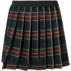Multicoloured wool blend plaid pleated mini skirt from P.A.R.O.S.H.. Gender: Female. Age Group: Adult. Material: Spandex/Elastane/Virgin Wool.