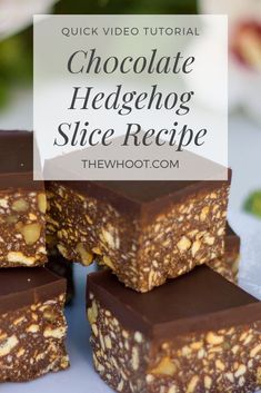 This Chocolate Hedgehog Slice Recipe is no bake and easy to make and it is ever so delicious. It's an old fashioned favorite you will love. Bakery Recipes, Dessert Recipes, Candy Recipes, Hedgehog Recipe, No Bake Slices, Slice Recipe, Yummy Treats, Yummy Food, Sweet Treats