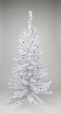 2' Pre-lit White Iridescent Pine Artificial Christmas Tree - Green Lights