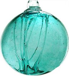 Kitras Art Glass still honors the old world tradition of glass blowing with studios in Canada. The Olde English Witch Ball ornament is typical of their design, featuring tree trunk style threads in Shades Of Turquoise, Teal Blue, Turquoise Color, Glass Floats, Ocean Colors, Glass Ball, My Favorite Color, Favorite Things, Tiffany Blue