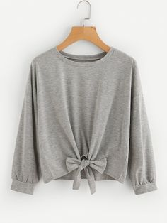 To find out about the Drop Shoulder Knot Front Slub Sweatshirt at SHEIN, part of our latest Sweatshirts ready to shop online today! Grey Sweatshirt, Sweat Shirt, Cute Sweatshirts, Hoodies, Shoulder Knots, Casual Tops For Women, Cute Tops, Cute Outfits, Fashion Outfits