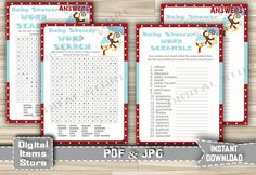 Winter Monkey Word Scramble Word Search Printable - Baby Shower Word Scramble and Word Search Game with Snow Monkey - Instant Download - ms1 by DigitalitemsShop on Etsy