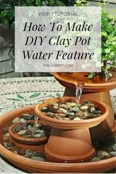 DIY Clay Pot Water Feature Is An Easy Project A property, or domicile, is an Backyard Water Fountains, Diy Garden Fountains, Ponds Backyard, Small Fountains, Backyard Waterfalls, Outdoor Fountains, Garden Ponds, Koi Ponds, Water Fountain Design