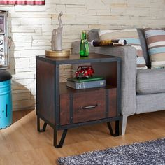 Furniture of America Sivenza Vintage Walnut Industrial End Table $120 (19.7 inches wide)