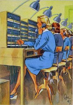 "WWII postcard - part of a series called ""Women working for you"" (courtesy of Retronaut.com)"