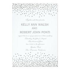 Confetti Silver Dots Elegant Wedding Invitation