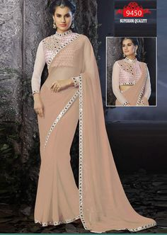 Bollywood Inspired Chiku Colour Georgette Mirror Work Saree Buy Sarees