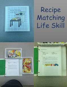 This product is a life skill task that teaches students to match ingredients to recipes as well as kitchen items needed to prepare recipe.