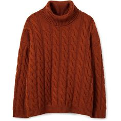 Wool Cable Knit Turtleneck (6.680.525 IDR) ❤ liked on Polyvore featuring tops, sweaters, oversized cable knit sweater, brown turtleneck, turtleneck sweater, brown sweater and cable-knit sweater