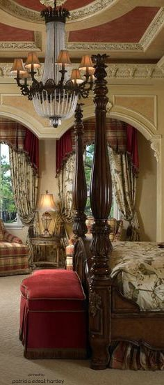 traditional,european bedroom. beautiful chandelier and architectural details
