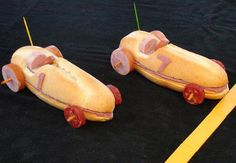 #funfood race car sub ham and cheese sandwiches w/sausage wheels.