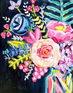 Flirty Florals No. 1, 11 x 14 Acrylic on Canvas, Evelyn Henson