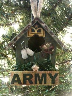 Unique Handmade Wooden Birdhouse Ornament for MILITARY in ARMY theme with Dog Tags, Stars and a Hummer - Gift for HIM.