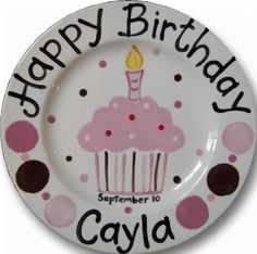 Items similar to Personalized Birthday Plate - Custom painted just for you on Etsy Birthday Crafts, Birthday Fun, Cupcake Birthday, Pottery Painting, Ceramic Painting, Painted Plates, Hand Painted, Craft Gifts, Diy Gifts