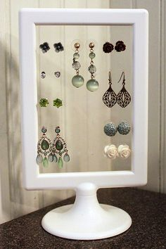 Beautiful Earring Storage Idea For Studs or Ear Wire Types Wooden