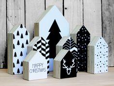 Kerst #huisjes #hout #zwartwit