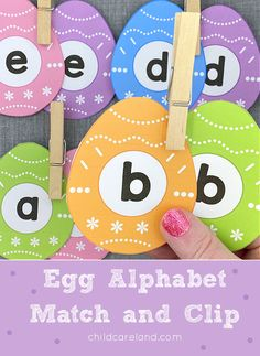 Egg alphabet match and clip for letter recognition and fine motor development. Early Learning Activities, Classroom Activities, Number Matching, Letter Recognition, Paper Clip, Fine Motor, Card Stock, Alphabet, Eggs