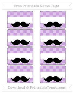 Wisteria Checker Pattern  Mustache Name Tags