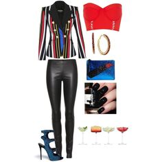 Created by Deranged Diva. Party Time. A fashion look from January 2015 featuring Balmain blazers, The Row leggings and River Island bikinis. Browse and shop related looks.