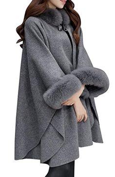 a7e35ae03d9 lovever Women Winter Warm Wool Blend Faux Fur Collar Cloak Overcoats Pea  Coats Grey XL Best Winter Coats for Women USA