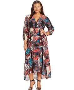 47ddab5360 NY Collection Plus Size Printed Peasant Maxi Dress   Reviews - Dresses - Plus  Sizes - Macy s