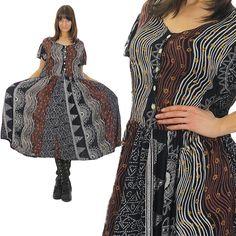 Vintage 90s Grunge Dress Abstract Dress Boho Dress by SHABBYBABEVINTAGE on Etsy $56.00