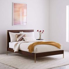 Rhyan Bed - Walnut #product#dimensions#space