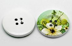 "Flower Pattern 4 Holes Wood Sewing Buttons 1 1/8"" Dia"