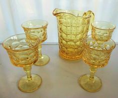 4 Goblets oz - filled to top) each having a. Indiana Glass for Tiara. 1 Pitcher gal) which has an approximate. Up for your consideration is a gorgeous 5 piece. This Set consists of. Glass Pitchers, Glass Vase, Indiana Glass, Vintage Glassware, Pottery Vase, Constellations, Mists, Drinkware, Sunsets