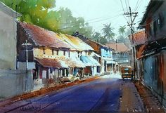vilas kulkarni paintings - Αναζήτηση Google Watercolor City, Watercolor Sketch, Watercolor Landscape, Watercolor Paintings, Watercolours, Trip The Light Fantastic, Fantastic Art, Awesome, Landscape Photos