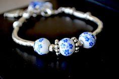 Porcelain Bracelet Ceramic Bracelet Glass Beads by LKArtChic