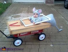 Baby Mouse Caught in Mouse Trap <3 #diy #halloween #costumes  LOL @Sam McHardy McHardy McHardy Taylor Lee will you pull me around Fremont street if I make this costume?!  LOL  We'd have to get a slightly larger wagon!!