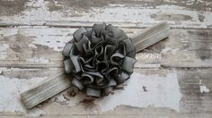 Glam Newborn Black Sheer Over Gray Silver Poof Flower on Satin Headband - pinned by pin4etsy.com