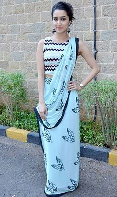 Are you looking for latest party wear sarees? Here are 20 Gorgeous party wear sarees and attractive blouse designs worn by top Bollywood actresses for you to check out Saree Blouse Patterns, Saree Blouse Designs, Indian Designer Outfits, Designer Dresses, Designer Wear, Indian Dresses, Indian Outfits, Indian Clothes, Shraddha Kapoor Saree