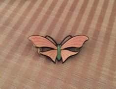 Sterling and Pink Enamel Butterfly Brooch