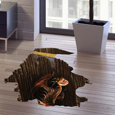 Good Quality Dinosaur Pattern Removeable 3D Floor Wall Sticker Home Decoration