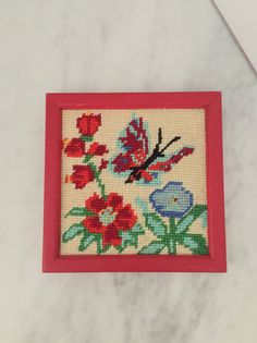 Butterfly Wall Decor Butterfly Needlepoint Red Aqua by Comforte
