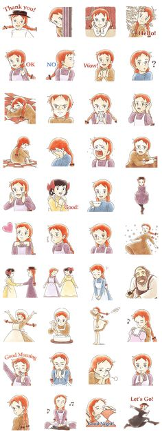 Anne of Green Gables Line Sticker - Rumors City Eid Stickers, Cartoon Stickers, Cartoon Quotes, Diy Gifts For Him, Drawing Quotes, Best Friend Pictures, Line Sticker, Otaku, Anime Art Girl