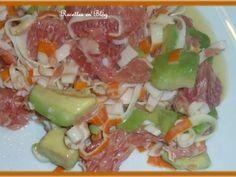 Recette Entrée : Salade d'avocat pamplemousse surimi par Recettes-en-blog