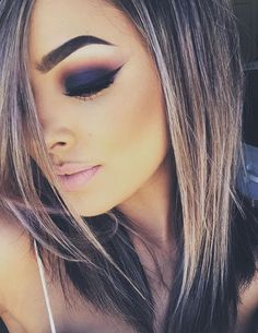 Stunning plum and orange halo smokey eye with winged liner-- this look is KILLER.