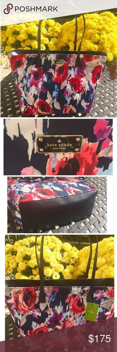 KATE SPADE *NWT* blake avenue blurry floral tote Gorgeous Kate Spade tote!! True statement bag . Nylon with black trim, handles, and bottom of bag. Base color of bag: dark blue / navy with purple/blue/red/ pink floral design . Name of bag is Blake avenue Margareta in blurry floral print. Outside has logo and inside has black silk fabric with one zip compartment and 2 other compartments and logo on inside as well. kate spade Bags Totes