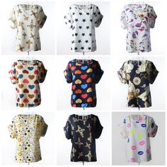 39b91f1b018 Blusas Femininas New Women Summer Chiffon Blouses Bird Heart Geometric  Polka Dot Shirt Loose Short Sleeve