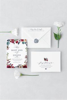 Burgundy Wedding Invitation, Printable Wedding Invitation, Autumn Wedding Invitation, Wedding Invitation Template, Watercolor Invitation by JadeAndOak on Etsy #weddinginvitation