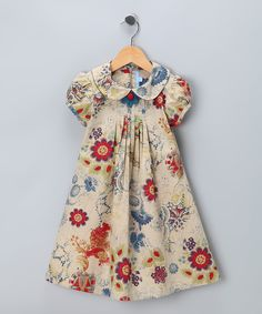 Khaki Floral Dress - Toddler | Daily deals for moms, babies and kids
